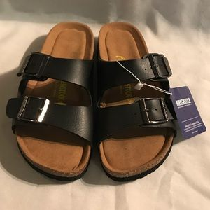 NWT SIZE 6 6.5/37 Black & Brown Birkenstock Shoes